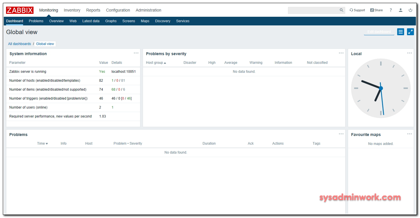 Completing the installation of zabbix server
